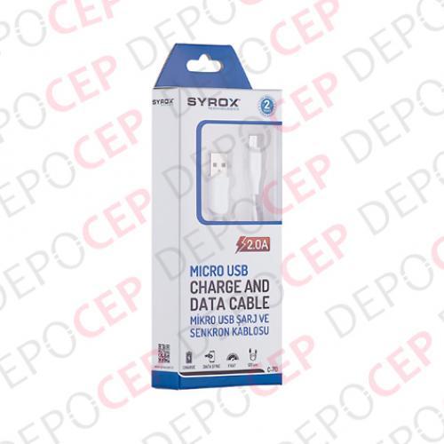 Syrox 2A Şarj ve Veri Aktarım Kablosu MicroUSB